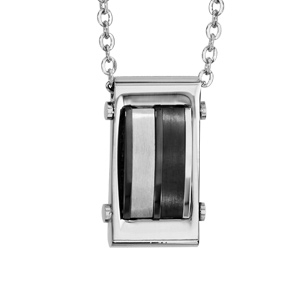 Collier en acier pendentif avec PVD noir 50cm + 5cm