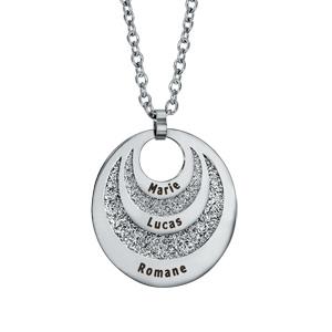 Collier en acier pendentif 3 cercles avec glitter prénom à graver réglable 45/50/55cm - Vue 1