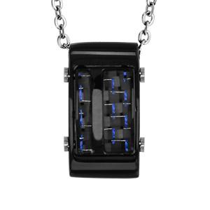 Collier en acier pendentif rectangulaire PVD noir et carbone reflet couleur bleu 50cm + 5cm