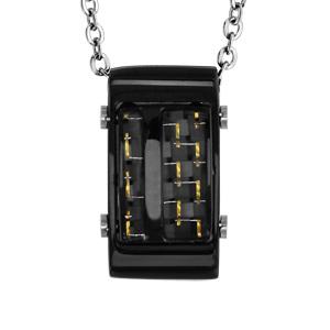 Collier en acier pendentif rectangulaire PVD noir et carbone reflet couleur or 50cm + 5cm