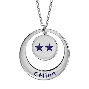Collier en argent chaîne avec pendentif anneau et médaille à graver - Champions du monde 2 étoiles avec gravure prénom - Vue 1