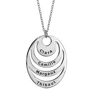 Collier en argent chaîne avec pendentif 4 anneaux à graver - longueur 40cm + 5cm de rallonge - Vue 1