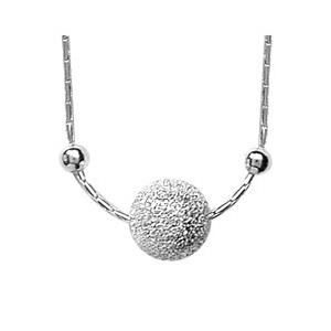 Collier en argent chaîne avec pendentif boule de neige et 1 petite boule lisse de chaque côté - longueur 42cm + 3cm - Vue 1