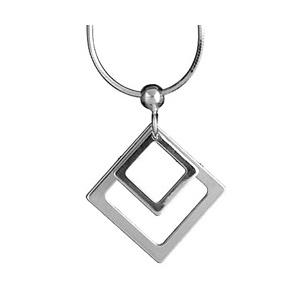 Collier en argent chaîne avec pendentif carrés évidés petit et grand - 40cm - Vue 1