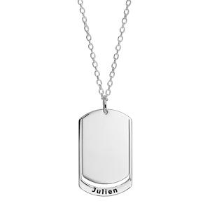 Collier en argent chaîne avec pendentif plaque G.I. à graver 1 ou 2 prénoms - longueur 50cm + 5cm - Vue 1