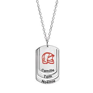 Collier en argent chaîne avec pendentif plaque G.I. à graver 3 prénoms - longueur 50cm + 5cm - Vue 1