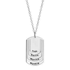 Collier en argent chaîne avec pendentif plaque G.I. à graver 4 prénoms - longueur 50cm + 5cm - Vue 1