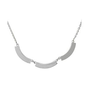 Collier en argent chaîne avec pendentifs 3 plaques en demi lune à graver - Vue 1