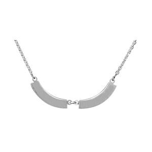 Collier en argent chaîne avec pendentifs 2 plaques prénom à graver en demi lune - Vue 1
