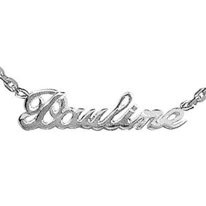 Collier en argent chaîne maille forçat avec découpe anglaise 1 prénom - longueur 40cm + 3cm de rallonge - Vue 1