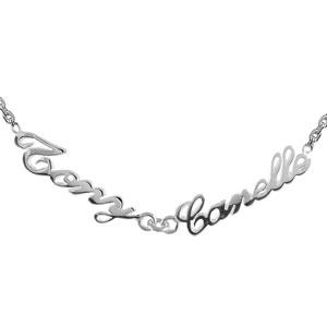 Collier en argent chaîne maille forçat avec découpe anglaise 2 prénoms - longueur 40cm + 3cm de rallonge - Vue 1
