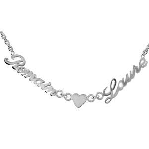 Collier en argent chaîne maille forçat avec découpe anglaise 2 prénoms séparés par un coeur - longueur 40cm + 3cm de rallonge - Vue 1