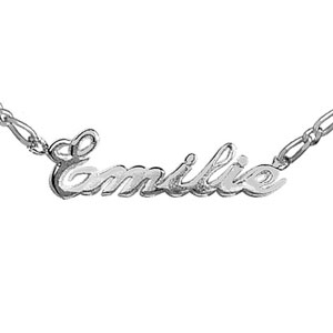 Collier en argent chaîne mailles 1+1 largeur 2mm avec découpe anglaise 1 prénom - longueur 40cm + 3cm de rallonge - Vue 1