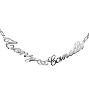 Collier en argent chaîne mailles 1+1 largeur 2mm avec découpe anglaise 2 prénoms - longueur 40cm + 3cm de rallonge - Vue 1