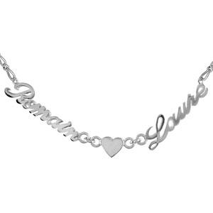 Collier en argent chaîne mailles 1+1 largeur 2mm avec découpe anglaise 2 prénoms séparés par un coeur - longueur 40cm + 3cm de rallonge - Vue 1