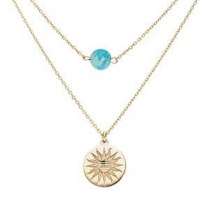Collier en argent et dorure jaune double chaîne pastille soleil diamantée et Hemimorphite véritable 40+5cm - Vue 1