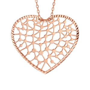 Collier en argent et dorure rose chaîne avec pendentif coeur ajouré en dentelle - longueur 40cm + 5cm de rallonge - Vue 1