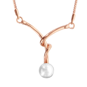 Collier en argent et dorure rose chaîne avec pendentif 2 fils entortillés avec 1 perle blanche synthétique au bout - longueur 40cm + 5cm de rallonge - Vue 1