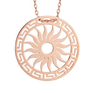 Collier en argent et dorure rose chaîne avec pendentif rond avec motif soleil découpé - longueur 40cm + 5cm de rallonge - Vue 1
