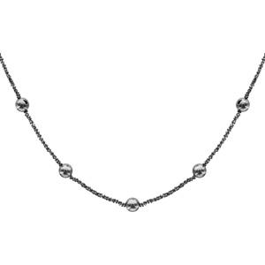 Collier en argent et rhodium noir maille margherita avec boules lisses à intervalles réguliers - longueur 40cm + 4cm de rallonge - Vue 1
