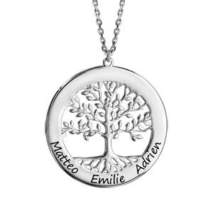 Collier en argent passivé chaîne avec pendentif arbre de vie prénom à graver 40cm + 5cm - Vue 1