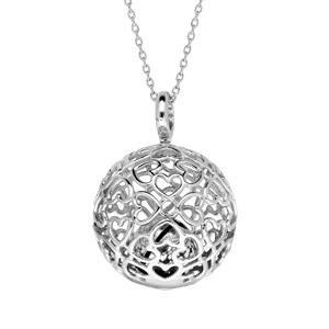 Collier en argent rhodié avec bola de grossesse motifs cœurs ajourés 20mm longueur 90+10cm - Vue 1