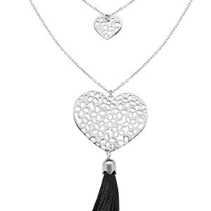 Collier en argent rhodié avec double chaîne Pendentif coeur ajouré avec pompon noir 42+3cm - Vue 1