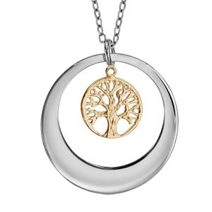 Collier en argent rhodié avec Pendentif anneau ajouré et arbre de vie en dorure jaune 40+5cm à graver 1 ou 2 prénoms - Vue 1