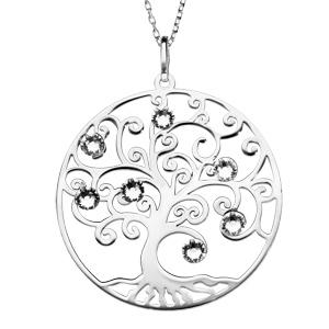 Collier en argent rhodié avec Pendentif arbre de vie ajouré et oxydes blancs 42+3cm - Vue 1