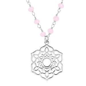 Collier en argent rhodié avec Pendentif fleur de vie ajourée et pierres facettées rose 42+3cm - Vue 1