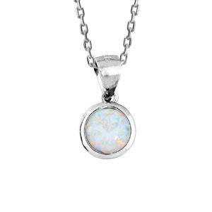 Collier en argent rhodié avec Pendentif opale blanche ronde véritable 44,5cm - Vue 1