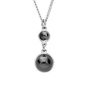 Collier en argent rhodié avec Pendentif 2 pierres rondes noires en verre de swarrovski 40+4cm - Vue 1