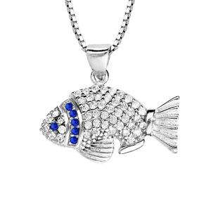 Collier en argent rhodié avec Pendentif poisson avec oxydes bleues et blancs 42+3cm - Vue 1