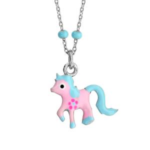 Collier en argent rhodié avec pendentif poney rose et bleu longueur 36+3cm - Vue 1