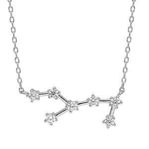 Collier en argent rhodié avec pendentif zodiaque constellation vierge oxydes blancs sertis longueur 42,5+2,5cm - Vue 1