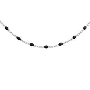 Collier en argent rhodié avec perles noires 40+5cm - Vue 1