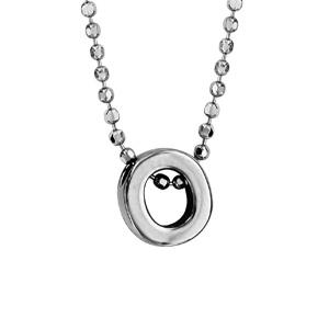 Collier en argent rhodié boules avec pendentif initiale \