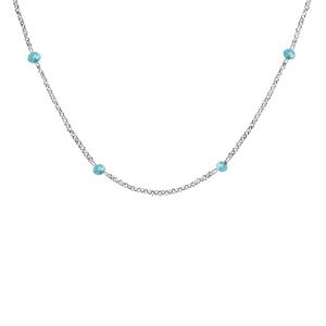 Collier en argent rhodié boules perles de verre facettées bleu clair 70+10cm - Vue 1