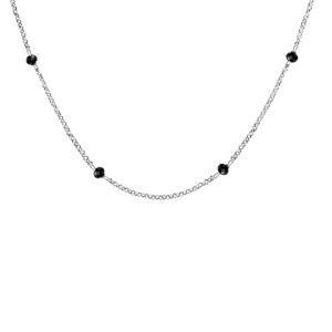 Collier en argent rhodié boules perles de verre facettées noires 70+10cm - Vue 1