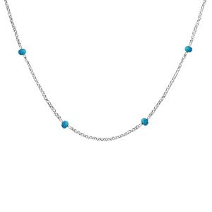 Collier en argent rhodié boules perles de verre facettées turquoises 70+10cm - Vue 1