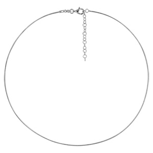 Collier en argent rhodié câble tressé - longueur 42cm + 5cm de rallonge - Vue 1