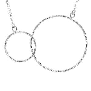 Collier en argent rhodié 2 cercles diamantés entrelacés 42+5cm - Vue 1