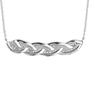 Collier en argent rhodié chaîne avec au milieu tresse avec bords lisses et intérieur pavé d\'oxydes blancs sertis - longueur 40cm + 4cm de rallonge - Vue 1