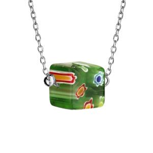 Collier en argent rhodié chaîne avec cube en verre vert - longueur 42+3cm - Vue 1