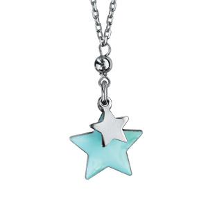 Collier en argent rhodié chaîne avec 2 étoiles suspendues avec résine bleu ciel - longueur 40+5cm - Vue 1