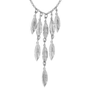 Collier en argent rhodié chaîne avec pampilles plumes en cascade - longueur 42cm - Vue 1