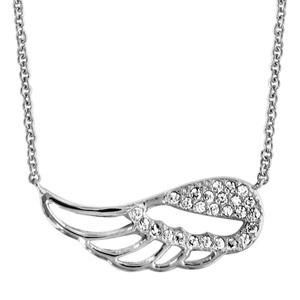 Collier en argent rhodié chaîne avec pendentif aile d\'ange ajourée et ornée d\'oxydes blancs sertis - longueur 40cm + 4cm de rallonge - Vue 1