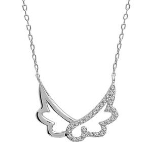 Collier en argent rhodié chaîne avec pendentif 2 ailes longues, 1 lisse et l\'autre ornée d\'oxydes blancs - longueur 40cm + 4cm de rallonge - Vue 1
