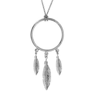 Collier en argent rhodié chaîne avec pendentif anneau avec 3 plumes suspendues - longueur 47cm - Vue 1