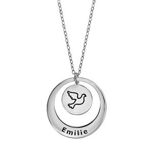 Collier en argent rhodié chaîne avec pendentif anneau et médaille à graver - longueur 40cm + 5cm de rallonge - Vue 1